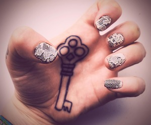 key, nails, and tattoo image