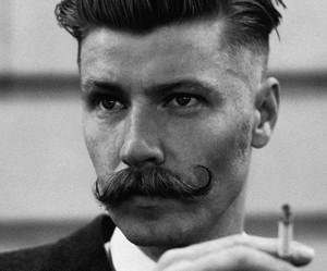 black and white, moustache, and mustache image