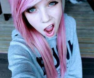 pink hair, pretty, and blue eyes image