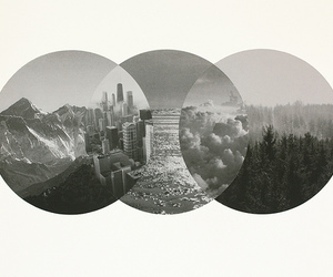 circles, city, and mountains image