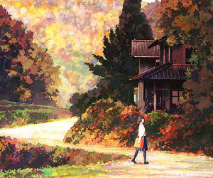 anime, art, and autumn image
