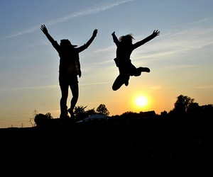 girl, jump, and sun image