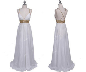evening dresses, long prom dress, and white prom dress image