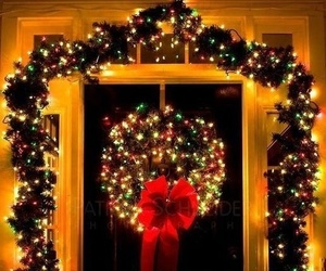 christmas, door, and light image
