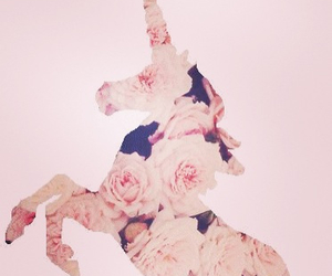 unicorn, floral, and pink image