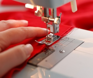 fabric, red, and sewing machin image