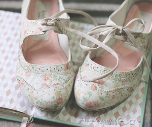 shoes, floral, and vintage image