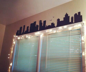 bedroom, city, and lights image