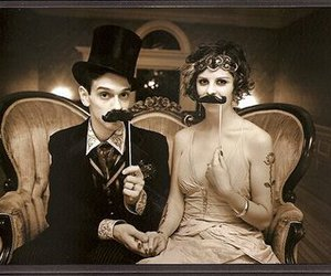 moustache, couple, and love image