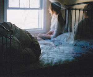 bed, ghost, and girl image