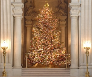 christmas, christmas tree, and gold image