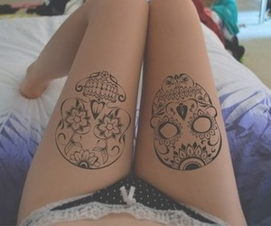 tattoo, skull, and legs image