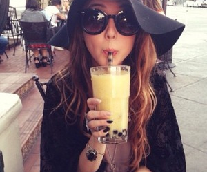 girl, sunglasses, and drink image
