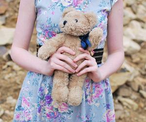 girl, bear, and teddy bear image