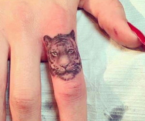 tattoo, fingers, and tiger image