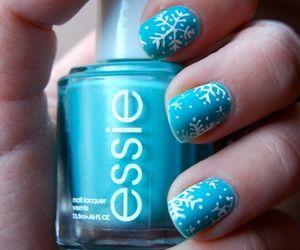 nails, blue, and snowflake image