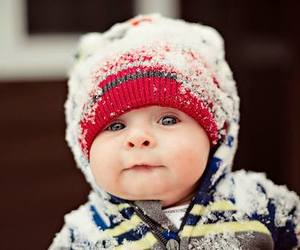 baby, cute, and snow image