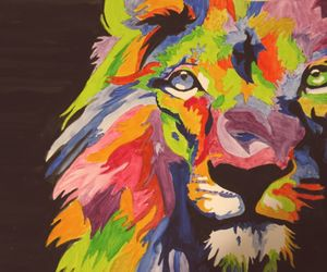 lion, drawing, and colors image