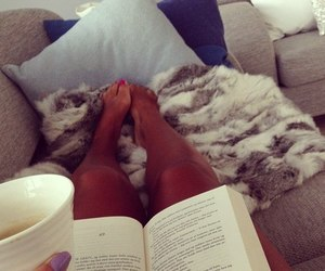book, legs, and coffee image