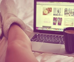 bed, coffe, and macbook image