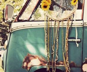 hippie, flowers, and dreamcatcher image