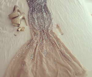 dress, long, and shoes image