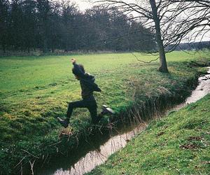 boy, jump, and nature image