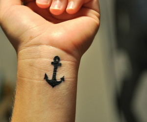 anchor tattoo, wrist, and ink image