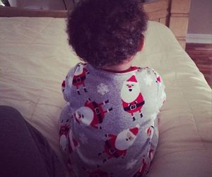 baby, bed, and Christmas time image