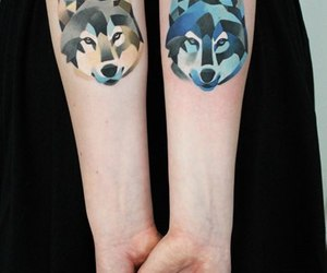 blue, tattoo, and wolf image