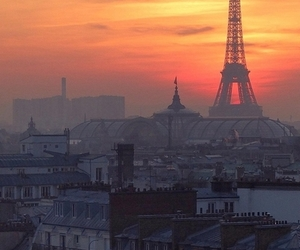 paris, city, and sunset image