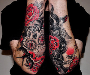 tattoo, skull, and rose image