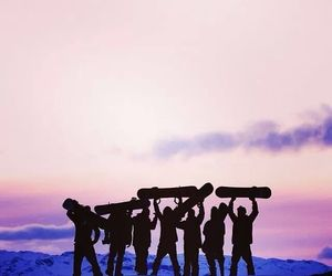 snow, sunset, and friends image