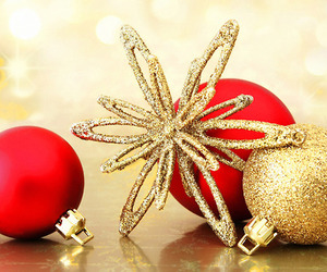 christmas, gold, and red image