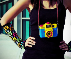 camera, girl, and colors image