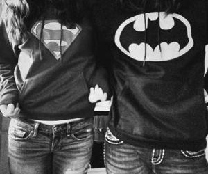 batman, superman, and couple image