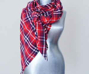 handmade, blanket scarf, and plaid image