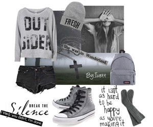 backpack, beanie, and converse image
