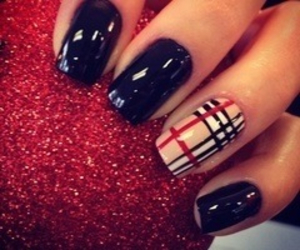 nails, Burberry, and black image