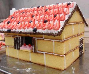 cake, house, and strawberry image