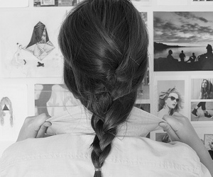 hair and black and white image