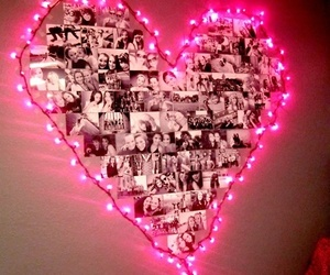 pink, lights, and heart image