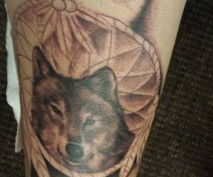 dreamcatcher, tattoo, and wolf image