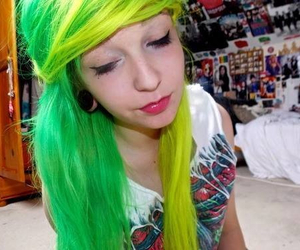 green hair, hair, and dyed hair image