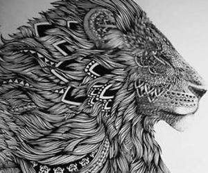 hipster, psychedelic, and lion image