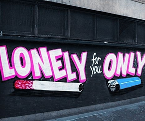 lonely, cigarette, and graffiti image