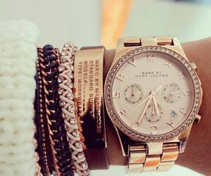 watch, gold, and bracelet image