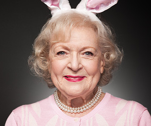 betty white, bunny ears, and pink image