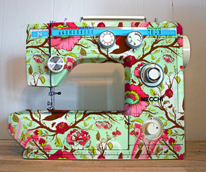 sewing machine and floral image
