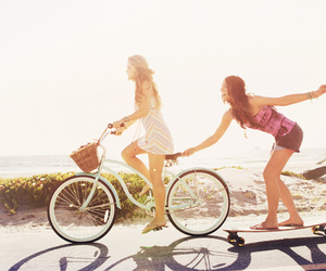 friends, summer, and bike image